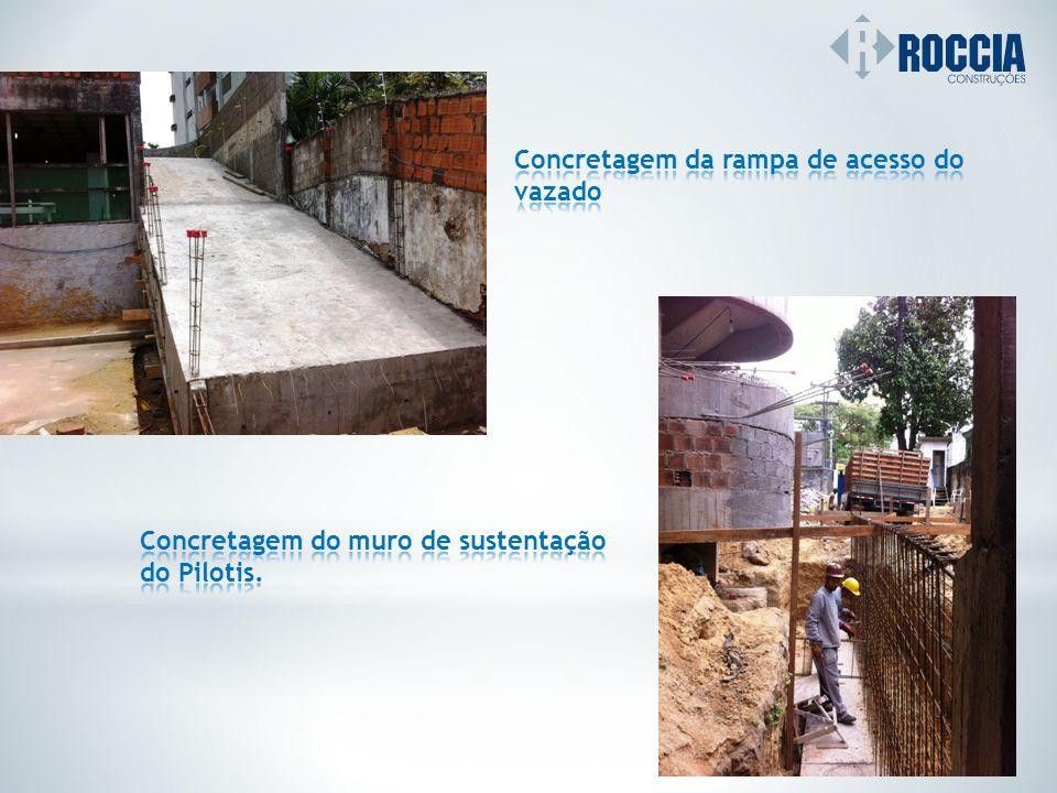 Concretagem da rampa de acesso do vazado