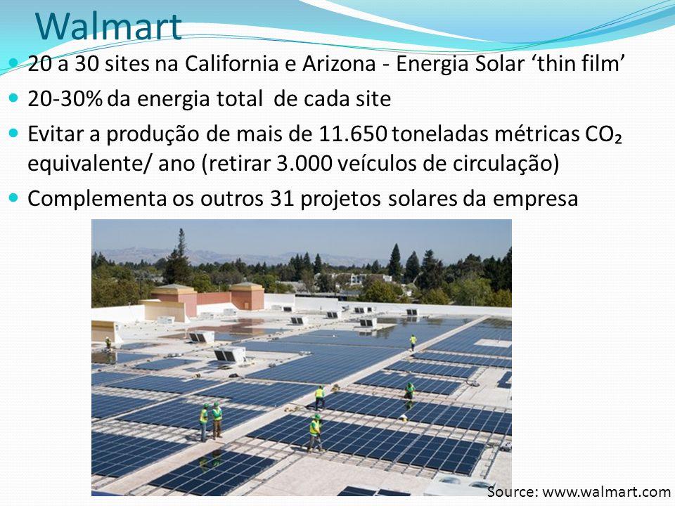Walmart 20 a 30 sites na California e Arizona - Energia Solar 'thin film' 20-30% da energia total de cada site.