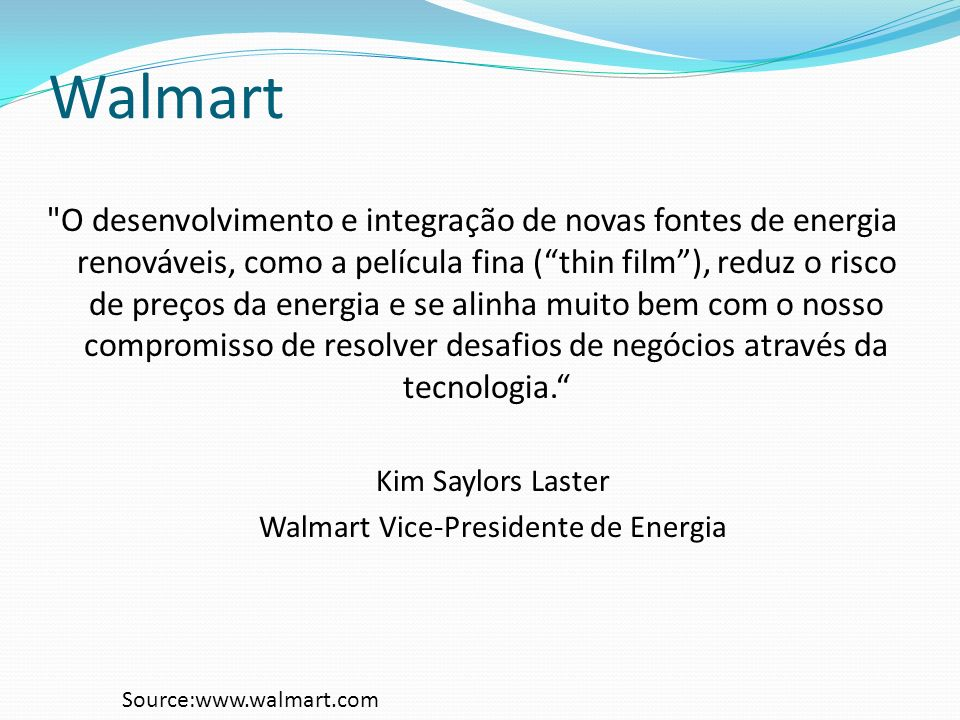Walmart Vice-Presidente de Energia