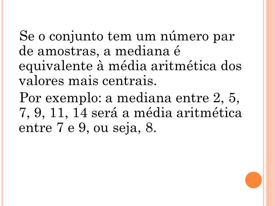 Se o conjunto tem um número par de amostras, a mediana é equivalente à média aritmética dos valores mais centrais.