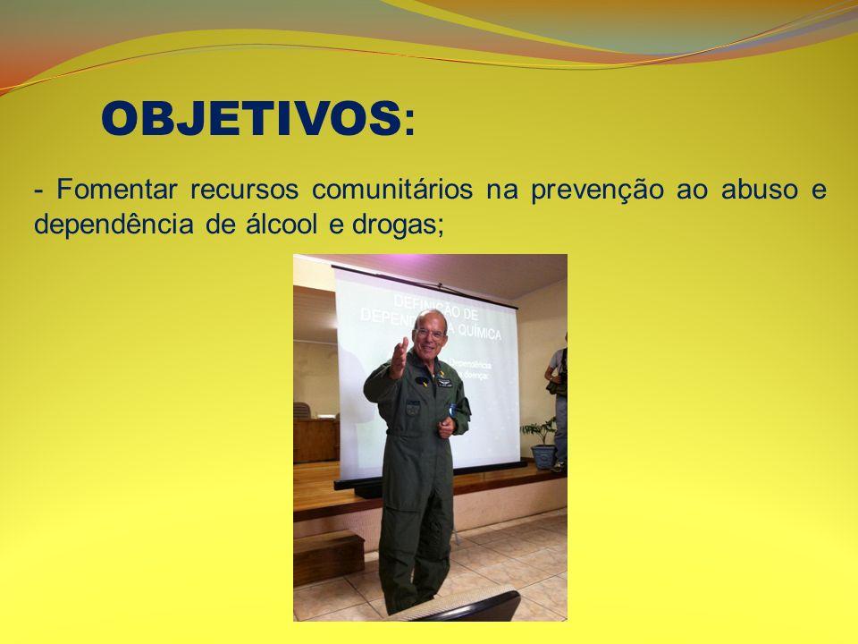 OBJETIVOS: - Fomentar recursos comunitários na prevenção ao abuso e dependência de álcool e drogas;