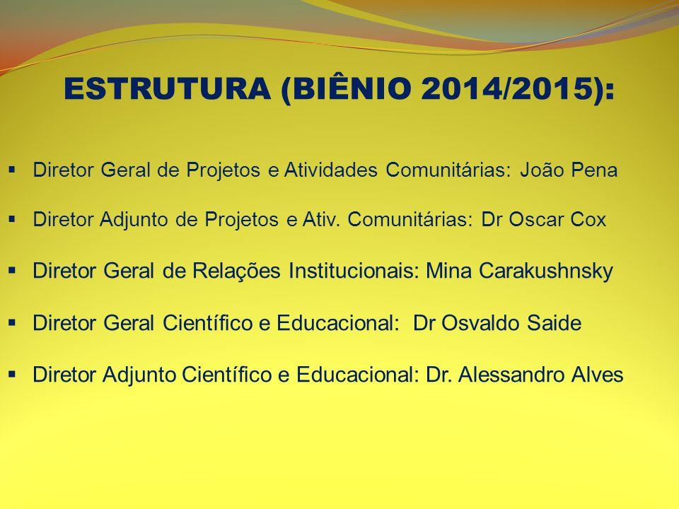 ESTRUTURA (BIÊNIO 2014/2015): Diretor Geral de Projetos e Atividades Comunitárias: João Pena.