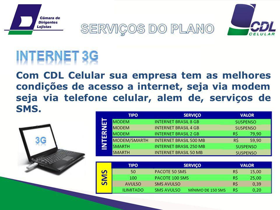 SERVIÇOS DO PLANO INTERNET 3G