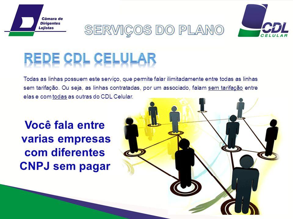 SERVIÇOS DO PLANO REDE CDL CELULAR Você fala entre varias empresas