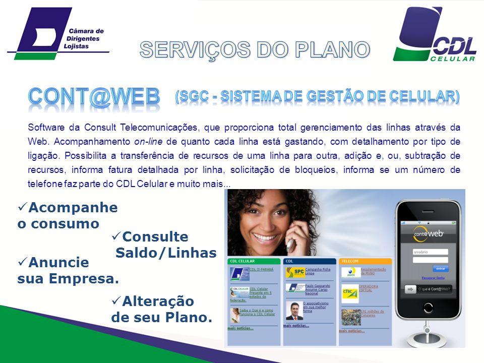 SERVIÇOS DO PLANO cont@web (sgc - sistema de gestão de celular)