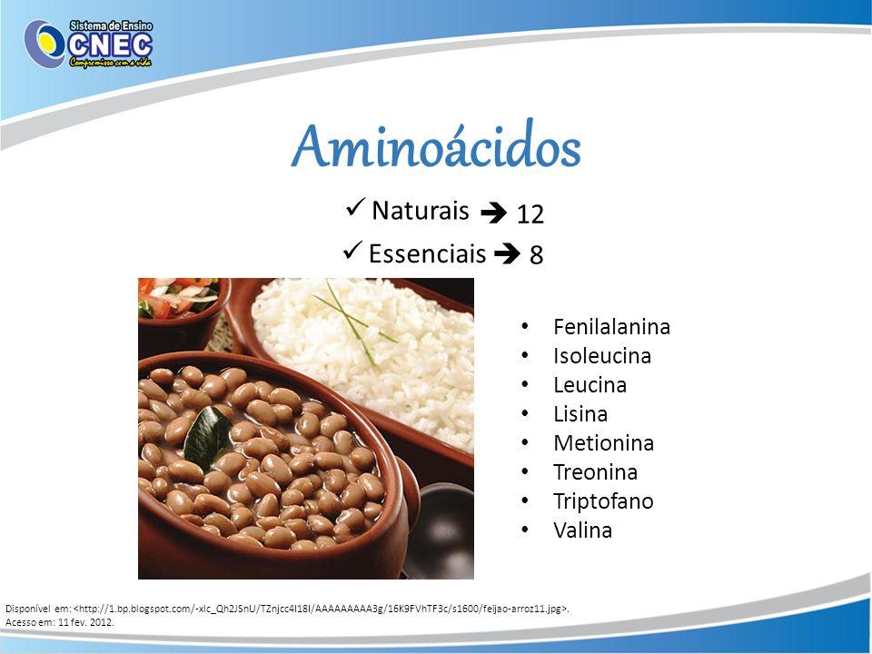 Aminoácidos Naturais  12 Essenciais  8 Fenilalanina Isoleucina