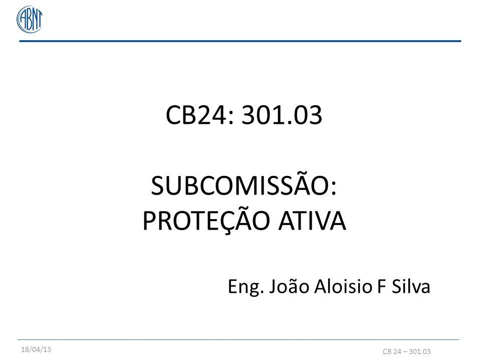 CB24: 301.03 SUBCOMISSÃO: PROTEÇÃO ATIVA Eng. João Aloisio F Silva