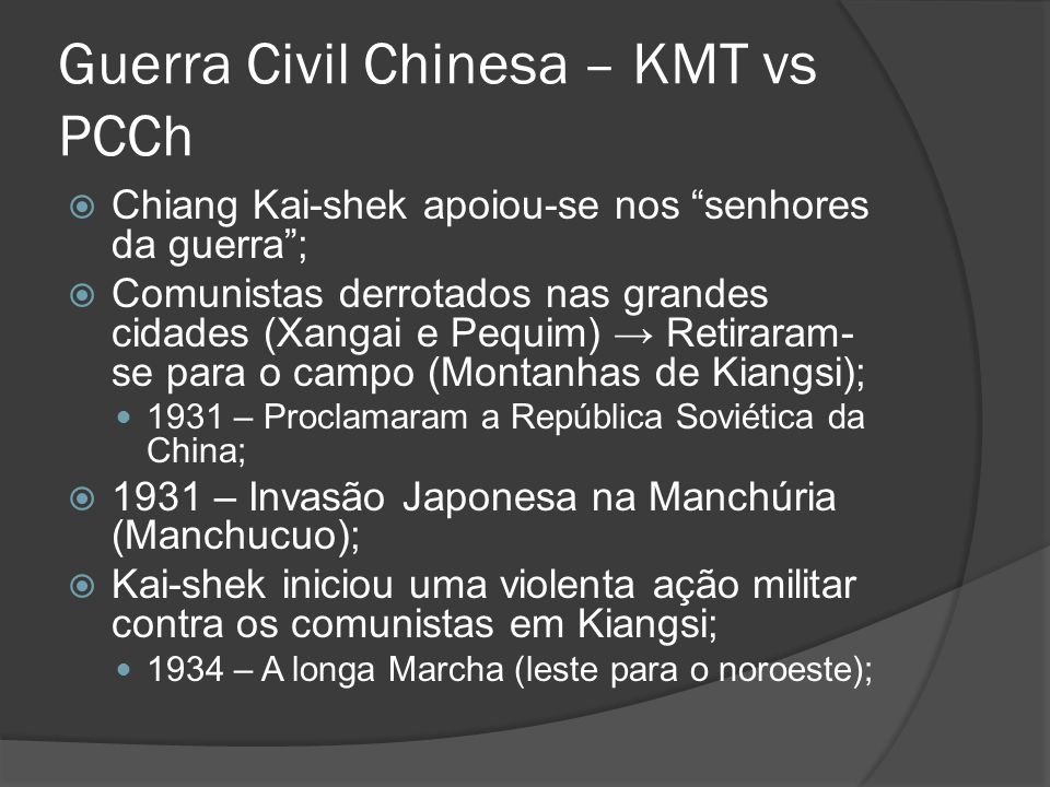 Guerra Civil Chinesa – KMT vs PCCh
