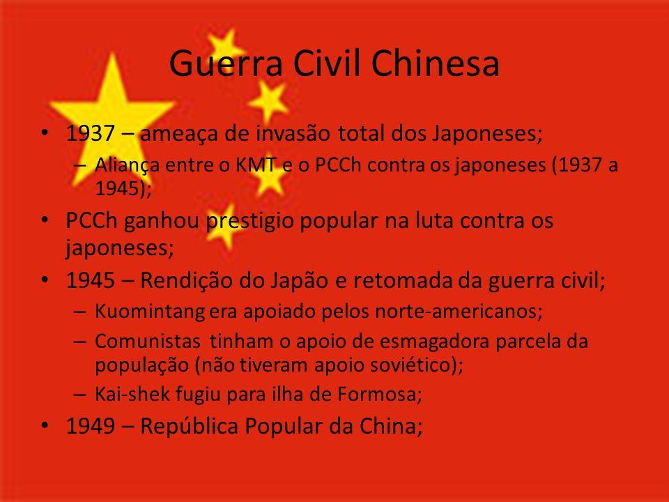 Guerra Civil Chinesa 1937 – ameaça de invasão total dos Japoneses;