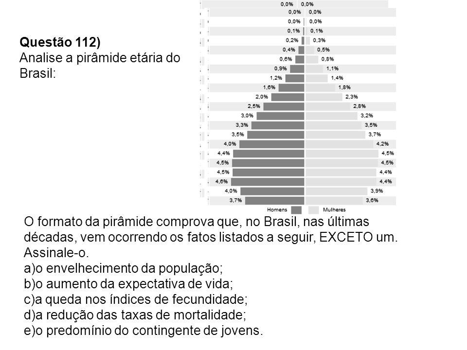 Questão 112) Analise a pirâmide etária do Brasil: