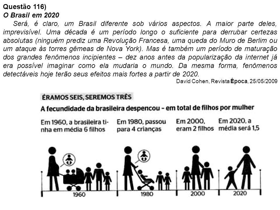 Questão 116) O Brasil em 2020.