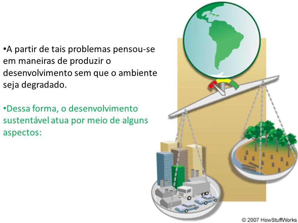A partir de tais problemas pensou-se em maneiras de produzir o desenvolvimento sem que o ambiente seja degradado.