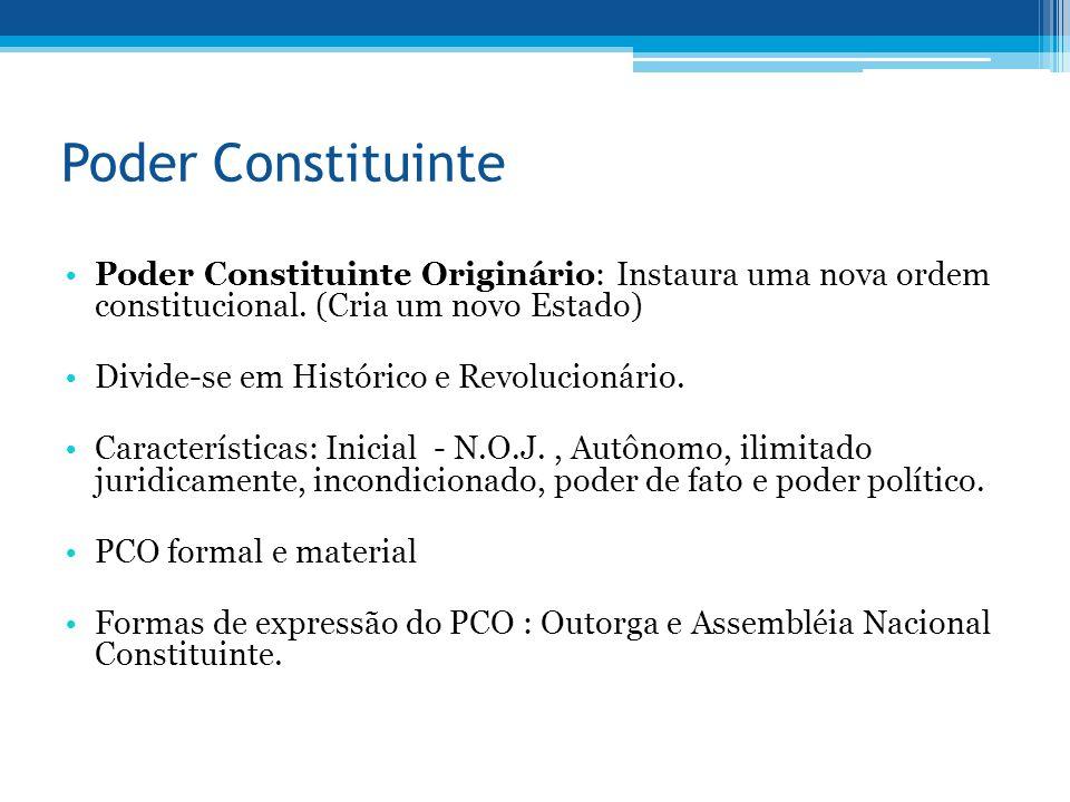Poder Constituinte Poder Constituinte Originário: Instaura uma nova ordem constitucional. (Cria um novo Estado)