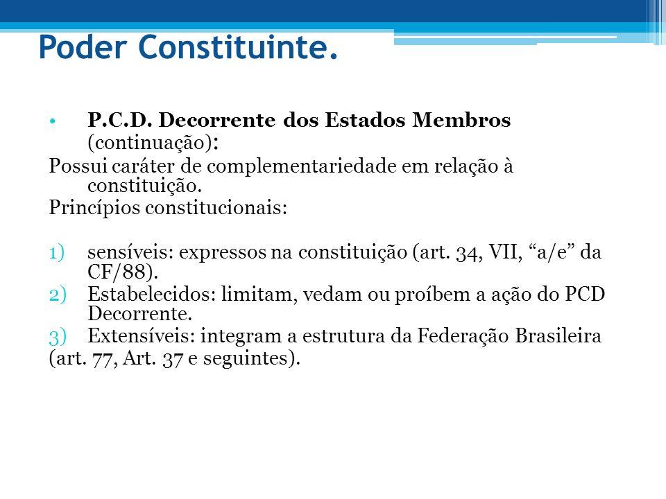 Poder Constituinte. P.C.D. Decorrente dos Estados Membros (continuação): Possui caráter de complementariedade em relação à constituição.