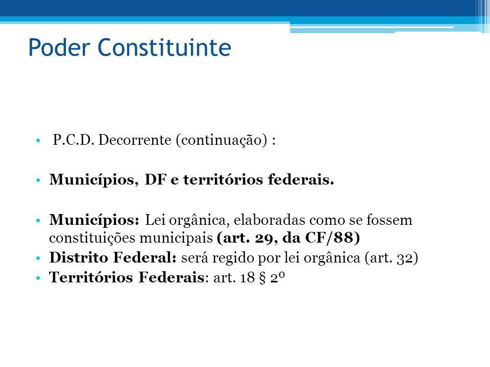 Poder Constituinte P.C.D. Decorrente (continuação) :