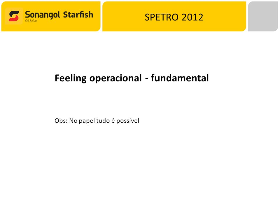Feeling operacional - fundamental