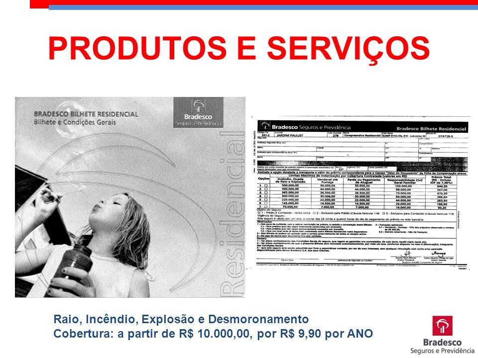 PRODUTOS E SERVIÇOS Raio, Incêndio, Explosão e Desmoronamento Cobertura: a partir de R$ 10.000,00, por R$ 9,90 por ANO.