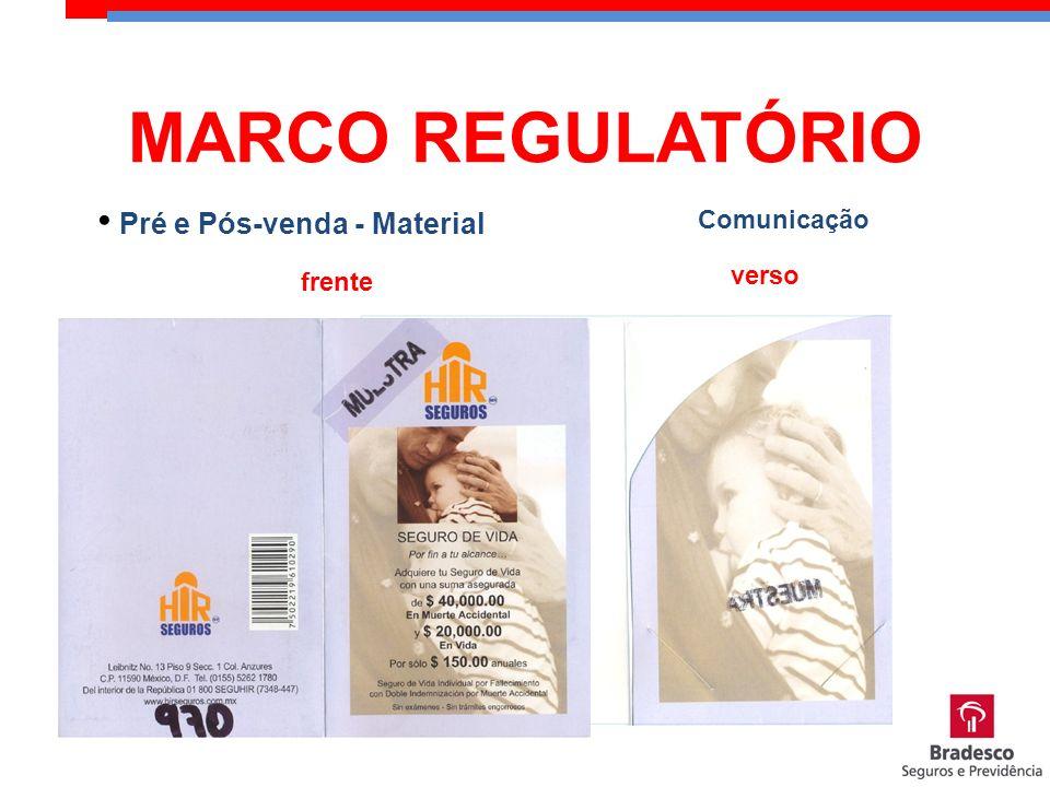 MARCO REGULATÓRIO Comunicação Pré e Pós-venda - Material verso frente