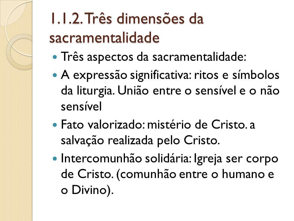 1.1.2. Três dimensões da sacramentalidade