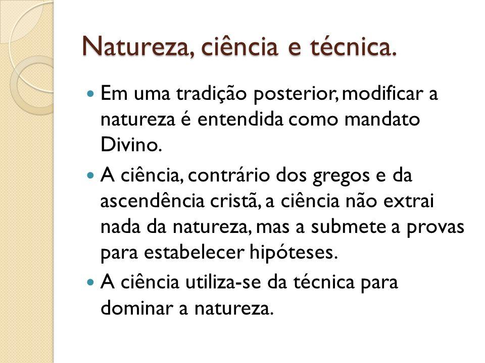 Natureza, ciência e técnica.