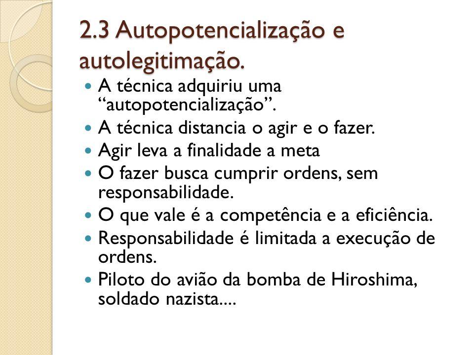 2.3 Autopotencialização e autolegitimação.
