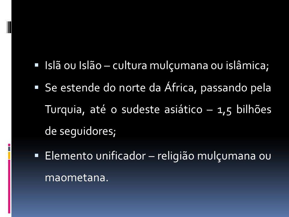Islã ou Islão – cultura mulçumana ou islâmica;