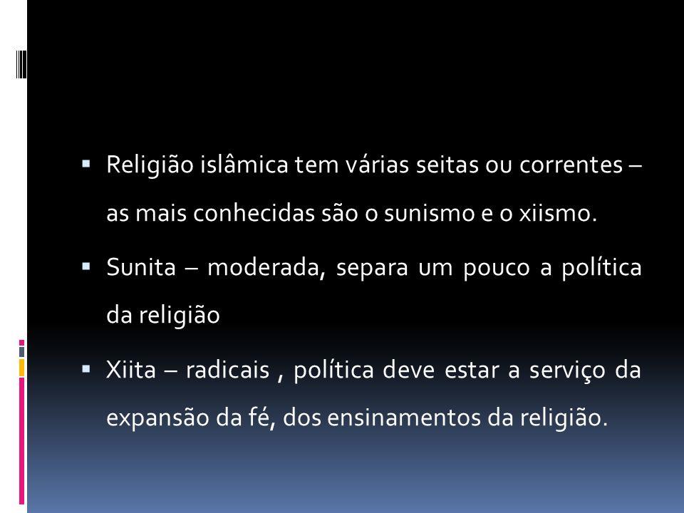 Religião islâmica tem várias seitas ou correntes – as mais conhecidas são o sunismo e o xiismo.