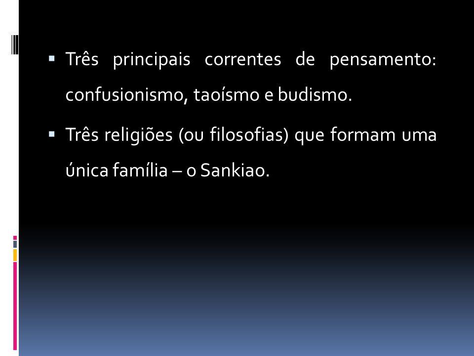Três principais correntes de pensamento: confusionismo, taoísmo e budismo.