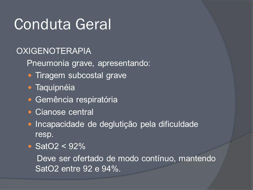 Conduta Geral OXIGENOTERAPIA Pneumonia grave, apresentando: