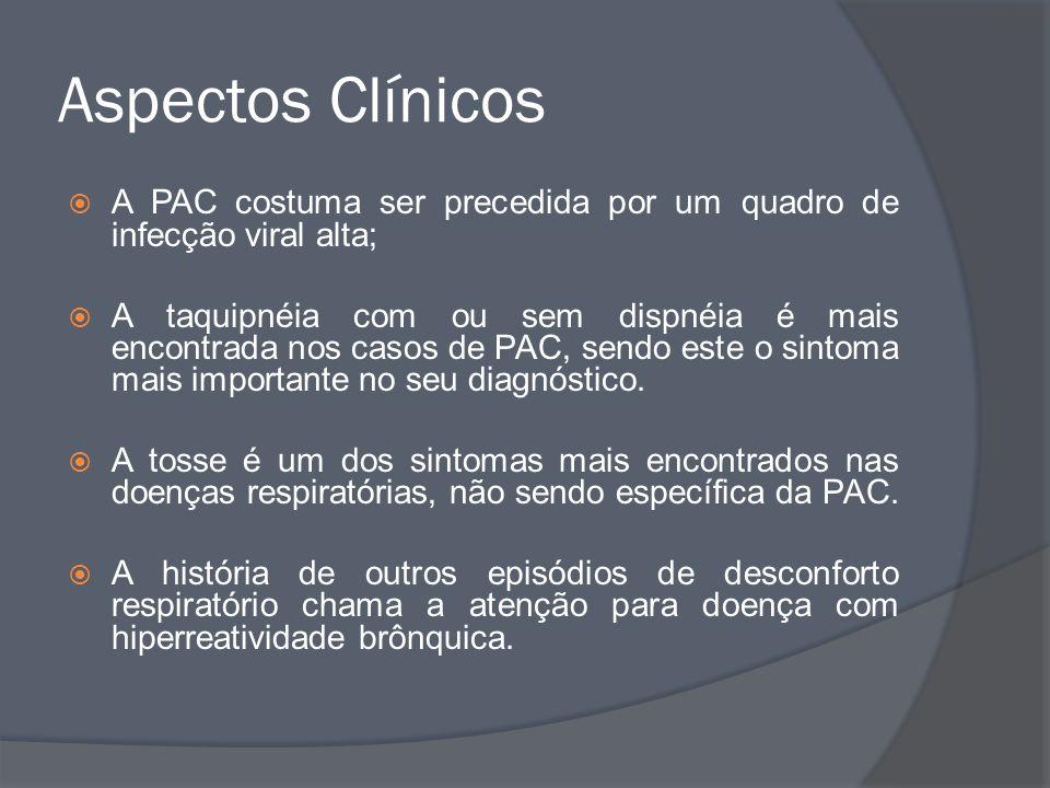 Aspectos Clínicos A PAC costuma ser precedida por um quadro de infecção viral alta;