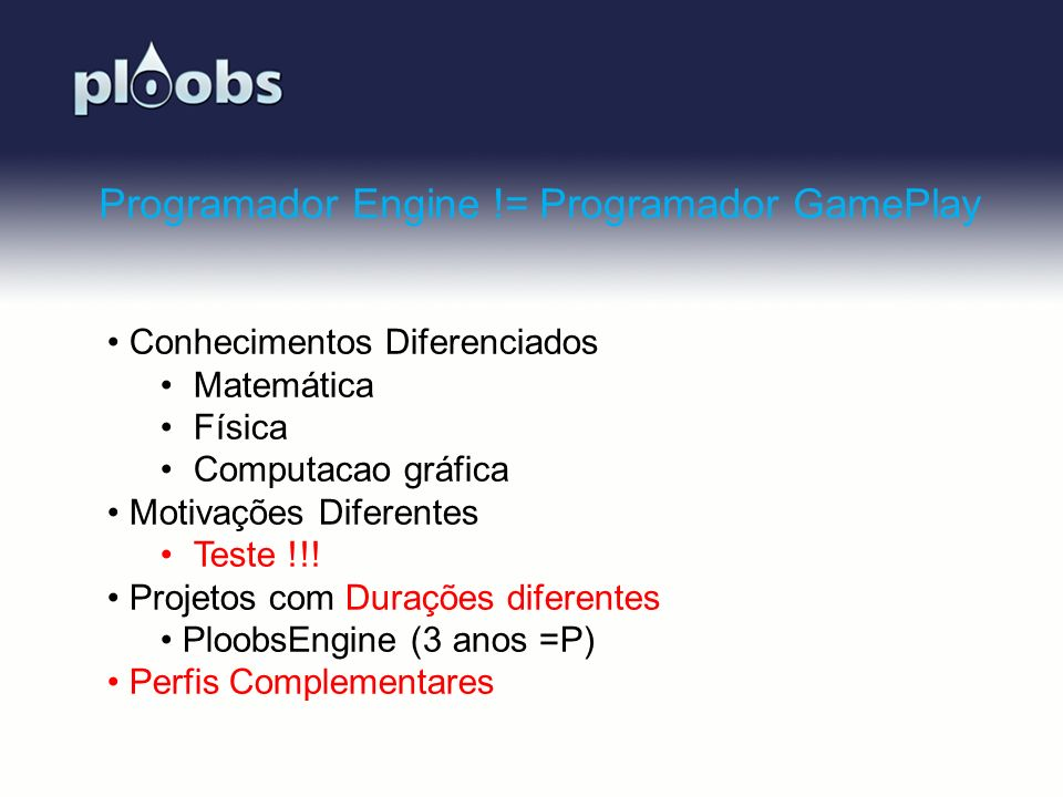 Programador Engine != Programador GamePlay