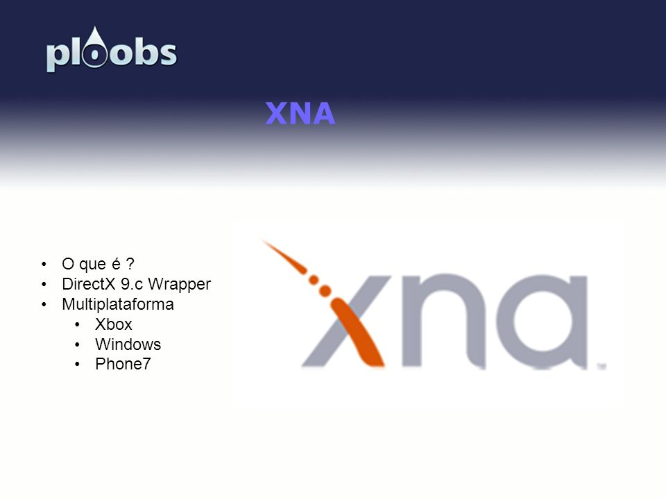 XNA O que é DirectX 9.c Wrapper Multiplataforma Xbox Windows Phone7