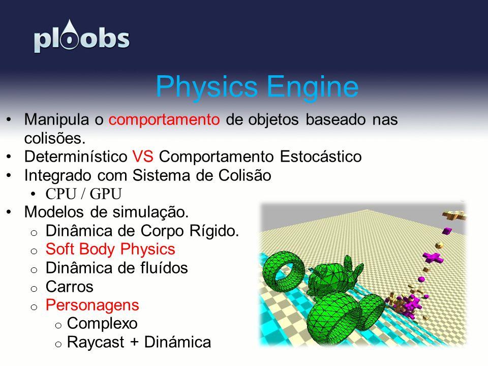 Physics Engine Manipula o comportamento de objetos baseado nas colisões. Determinístico VS Comportamento Estocástico.