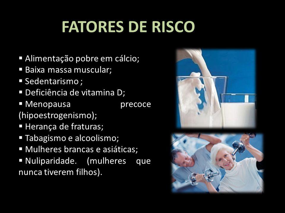 FATORES DE RISCO Alimentação pobre em cálcio; Baixa massa muscular;