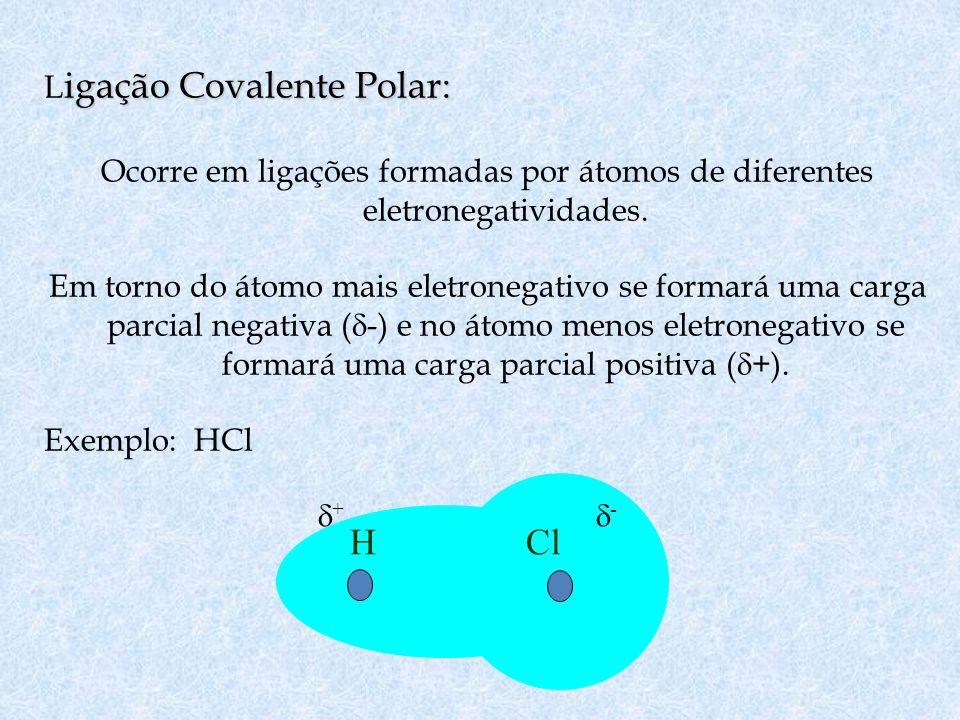 H Cl Ligação Covalente Polar: