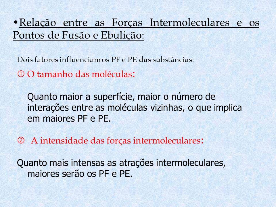 Relação entre as Forças Intermoleculares e os Pontos de Fusão e Ebulição:
