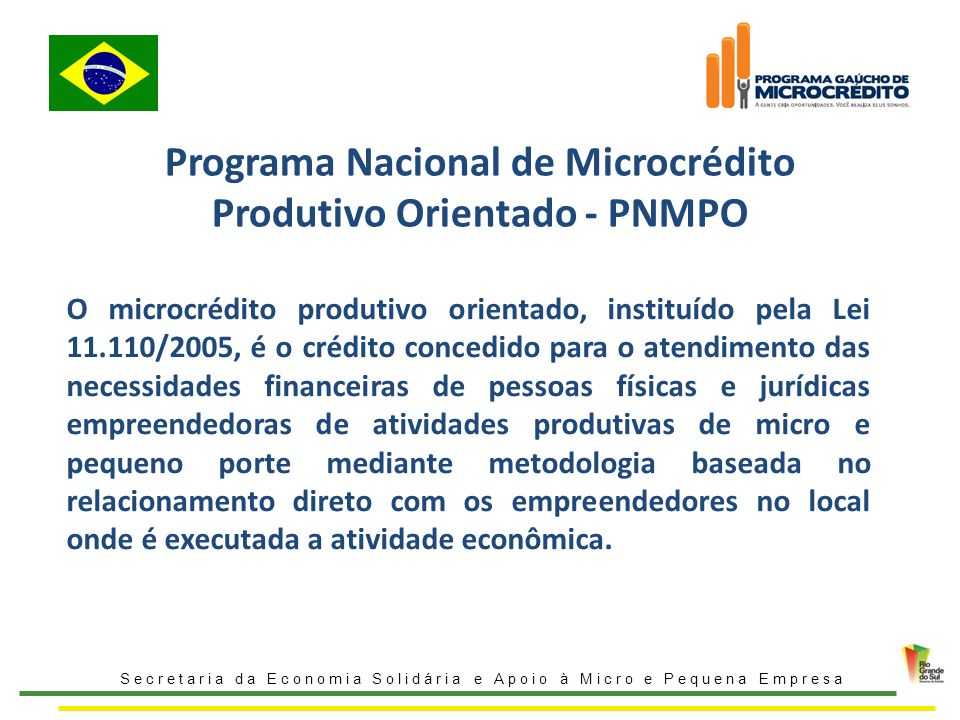 Programa Nacional de Microcrédito Produtivo Orientado - PNMPO