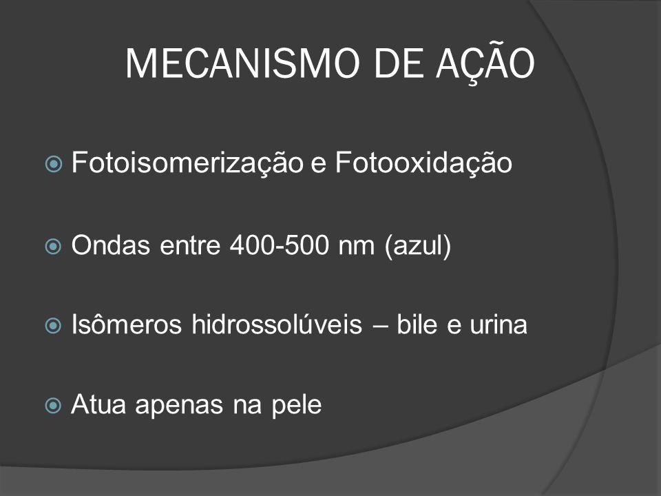 MECANISMO DE AÇÃO Fotoisomerização e Fotooxidação