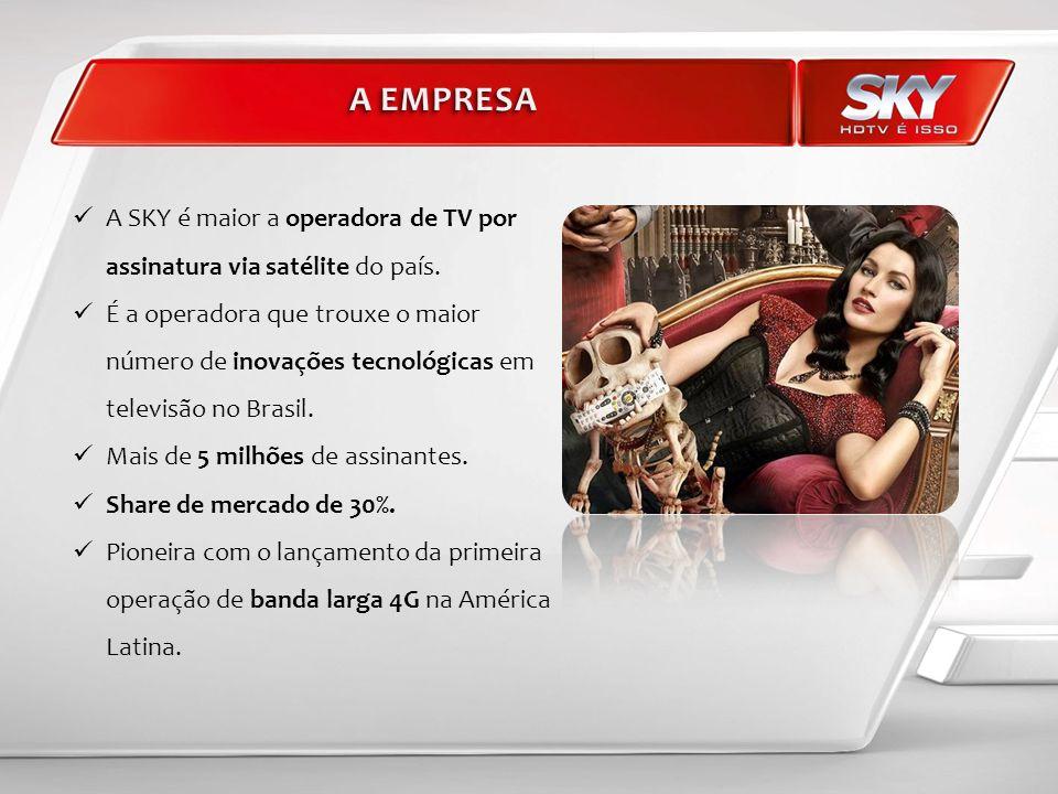 A EMPRESA A SKY é maior a operadora de TV por assinatura via satélite do país.