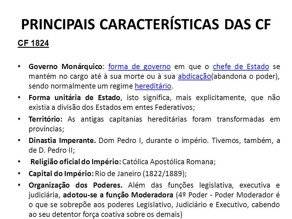 PRINCIPAIS CARACTERÍSTICAS DAS CF