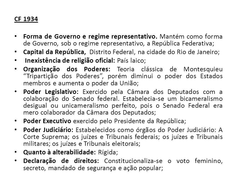 CF 1934 Forma de Governo e regime representativo. Mantém como forma de Governo, sob o regime representativo, a República Federativa;