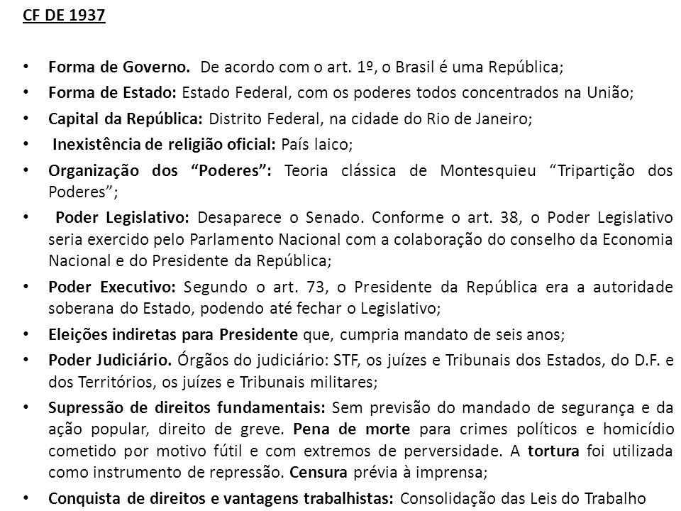 CF DE 1937 Forma de Governo. De acordo com o art. 1º, o Brasil é uma República;