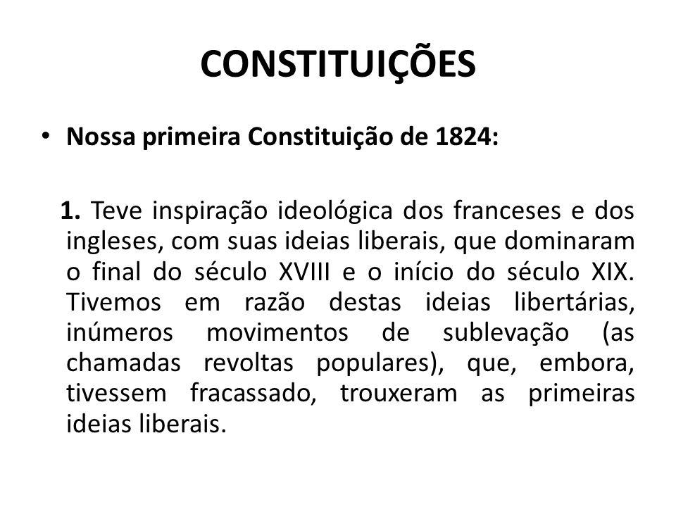 CONSTITUIÇÕES Nossa primeira Constituição de 1824: