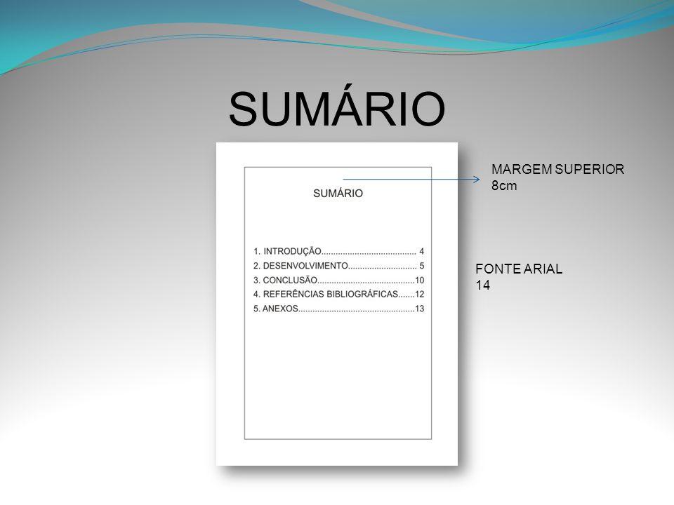 SUMÁRIO MARGEM SUPERIOR 8cm FONTE ARIAL 14