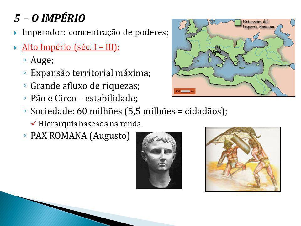 5 – O IMPÉRIO Auge; Expansão territorial máxima;