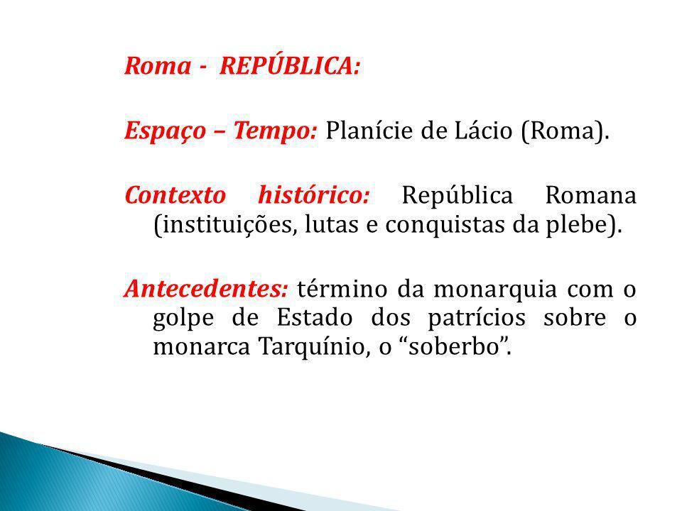 Roma - REPÚBLICA: Espaço – Tempo: Planície de Lácio (Roma). Contexto histórico: República Romana (instituições, lutas e conquistas da plebe).