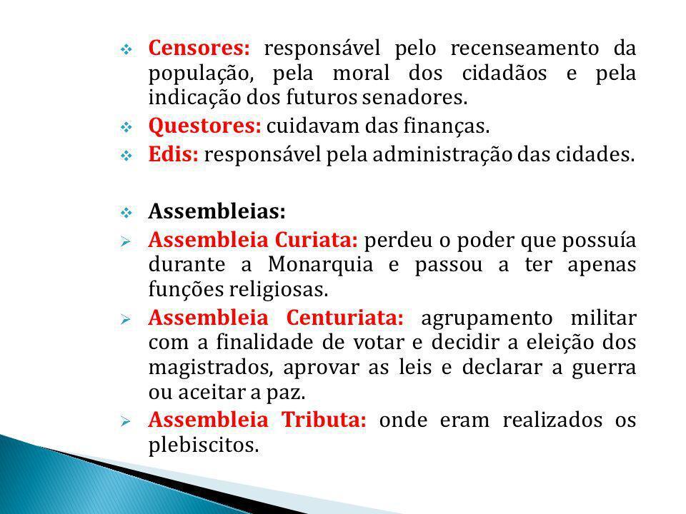 Censores: responsável pelo recenseamento da população, pela moral dos cidadãos e pela indicação dos futuros senadores.