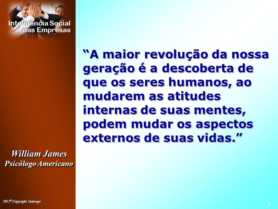 A maior revolução da nossa geração é a descoberta de que os seres humanos, ao mudarem as atitudes internas de suas mentes, podem mudar os aspectos externos de suas vidas.