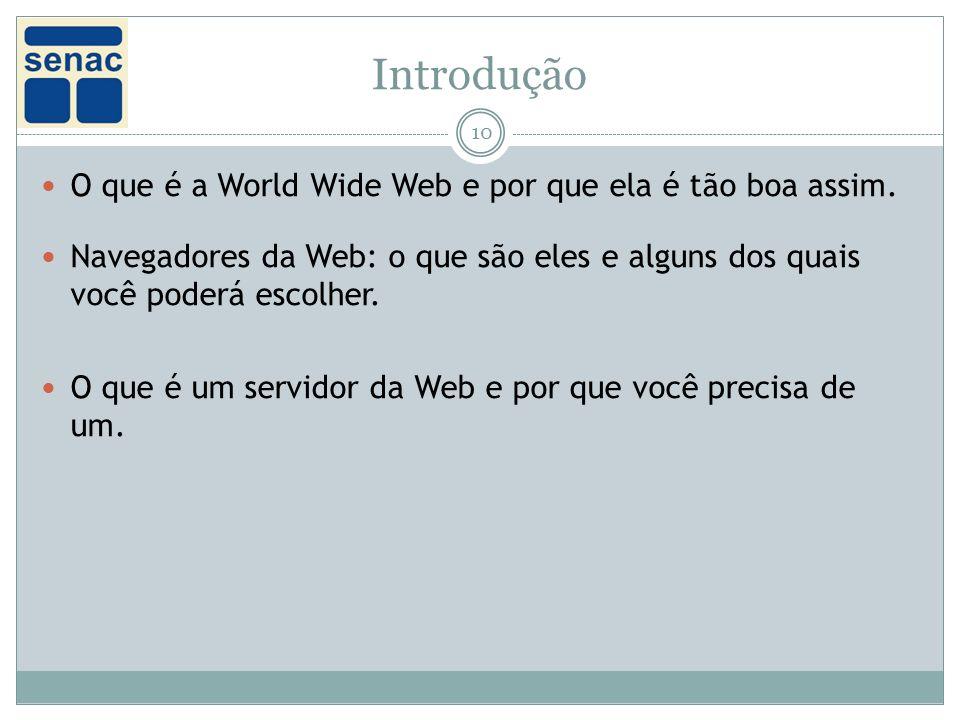 Introdução O que é a World Wide Web e por que ela é tão boa assim.