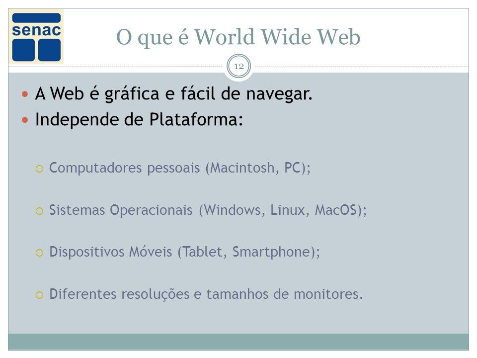 O que é World Wide Web A Web é gráfica e fácil de navegar.